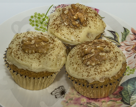 Gluten-free dairy-free egg-free vegan-friendly coffee walnut cupcakes with dairy-free white chocolate frosting