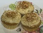 Gluten-free dairy-free egg-free vegan-friendly coffee walnut cake with white chocolate frosting