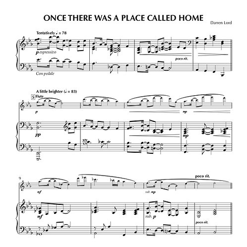 ONCE THERE WAS A PLACE CALLED HOME (Flute, Clarinet, Alto Sax)