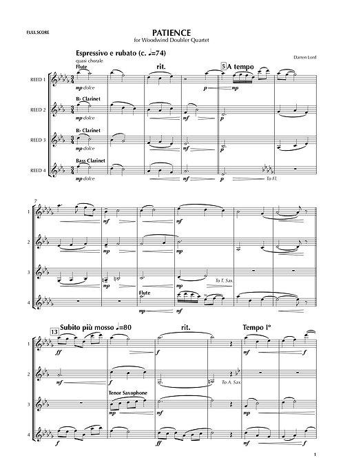 PATIENCE for Woodwind Doubler Quartet