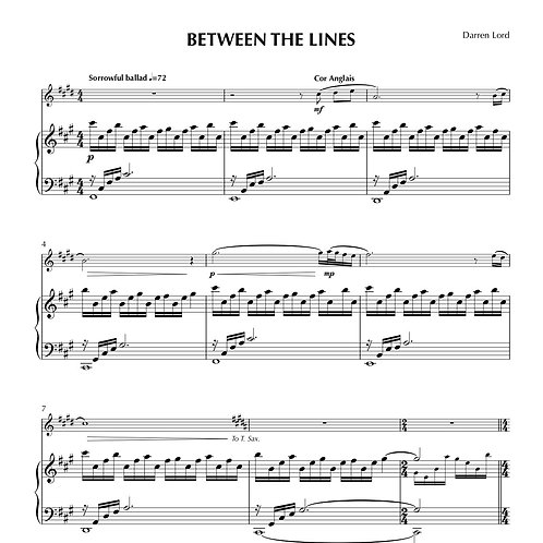 BETWEEN THE LINES (Cor Anglais, Tenor Sax, Oboe, Alto Sax)