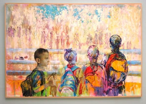 Pintura de la seria 'Trochas no. 1' de Richard Moncada