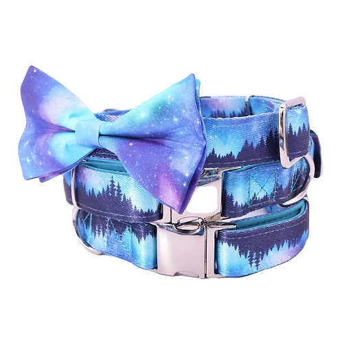 Aurora Dog Collar with Bow Tie and Metal Buckle