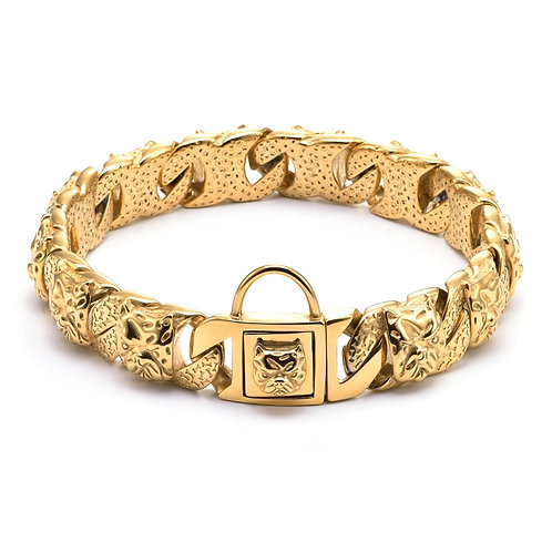 Luxury Designer Gold Chain Dog Collar from Stainless Steel