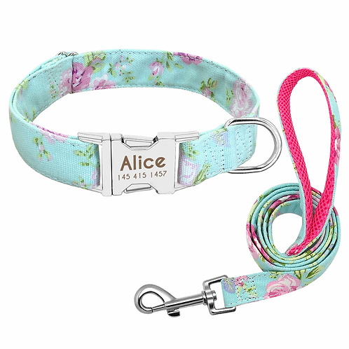 Dog Collar with Leash (set) with Personalised Pet Nameplate