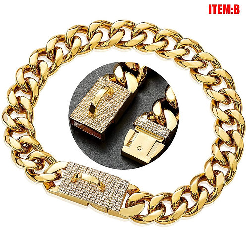 Luxury Gold-plated Stainless Steel Dog Chain  With Zircon Lock