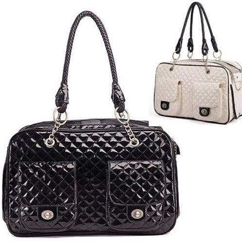 Luxury Patent PU Leather Pet Carrier Handbag