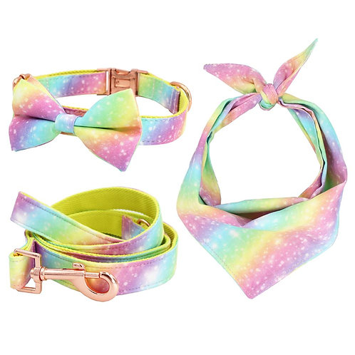 Rainbow Dog Collar Bow Tie  and Leash Set - With Rose Gold Buckle