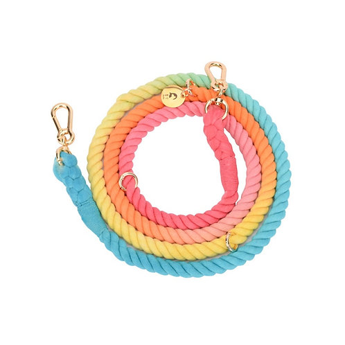 Multifunctional ombre cotton rope dog leash and collar