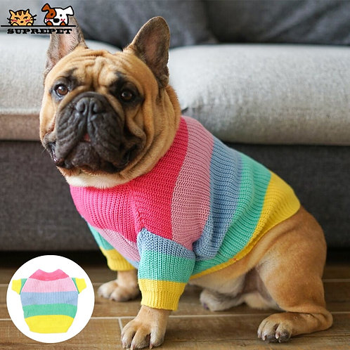Knitted Rainbow Dog Sweater
