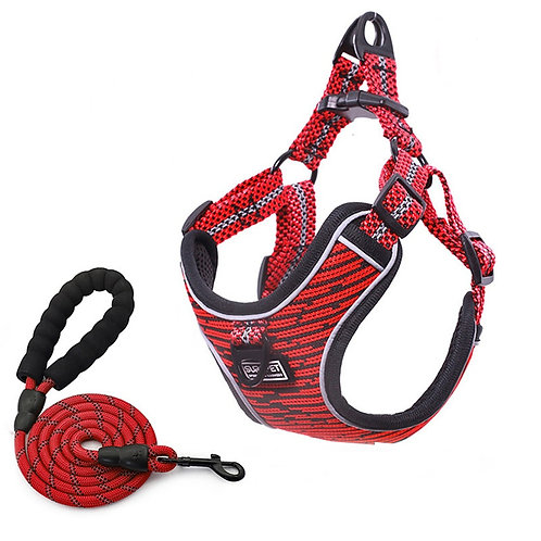 Soft Mesh Dog Harness and Leash Set With Reflective Strips