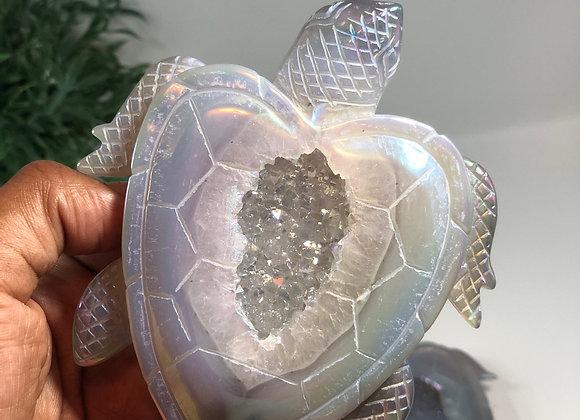 Titanium Aura Agate Turtles