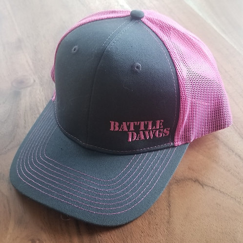 Woman's Pink/Gray Trucker style hat