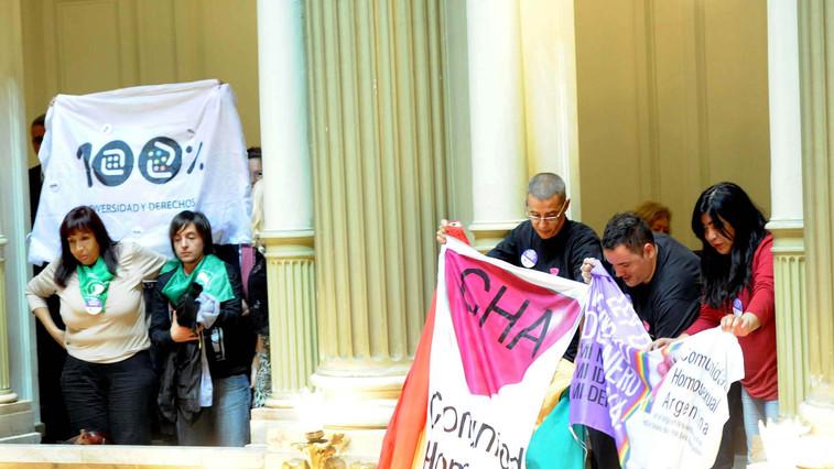 Durante la votación de la Ley de Identidad de Género, en 2012 (Télam)