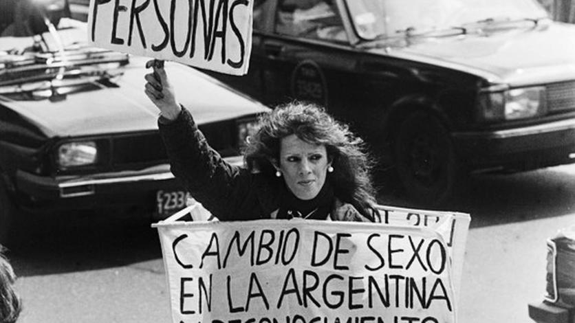 Protesta callejera, 1990 (Gentileza Archivo de la Memoria Trans).