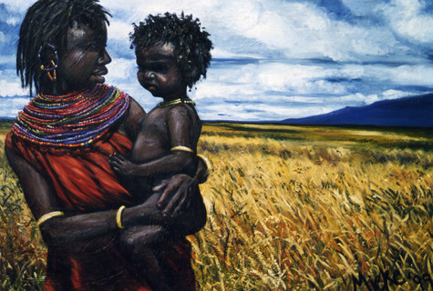 African Girl and Child