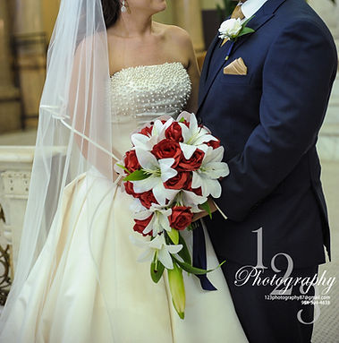 Bridal Bouquet Cascade white lilies red roses wedding