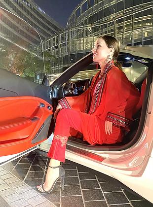 Ferrari Red Sadu Tunic