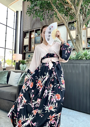 Black and Beige Kimono