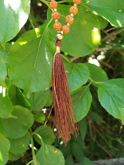 Brown and tan Tassel Necklace