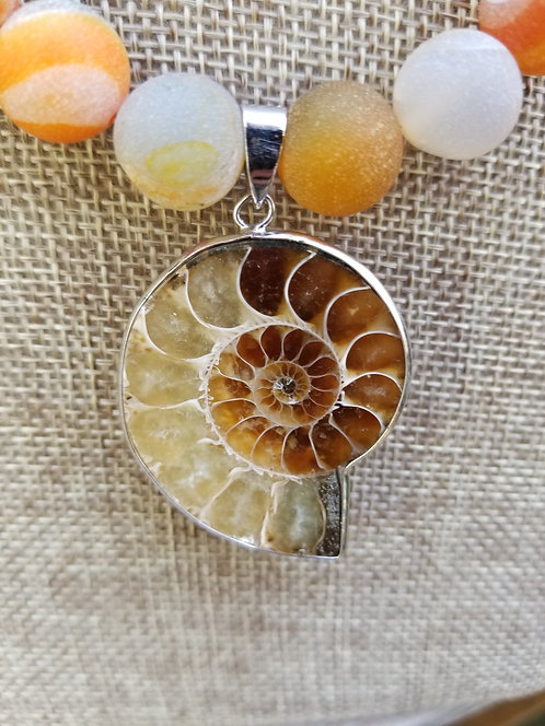 Handmade Ammonite Pendant With Druzy Beads Necklace