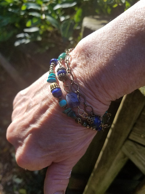 Three Strand Dark Brass Lapis Beads Bracelet