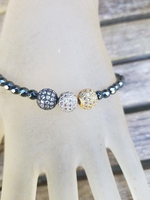 Grey Crystal With Three Balls Bracelet