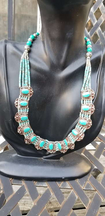 Turquoise Stone, Silver Link Collar Necklace