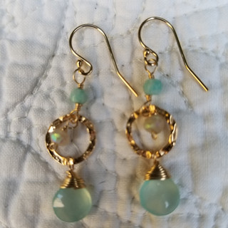 Goldfill and gemstone earring