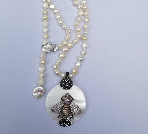 Freshwater Pearl Necklace With Detachable  MOP Bee