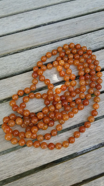 Very Long Carnelian Bead Necklace