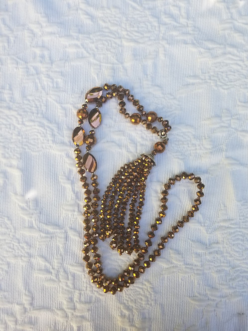 Faceted Copper Colored Glass Bead With Fringe  Necklace