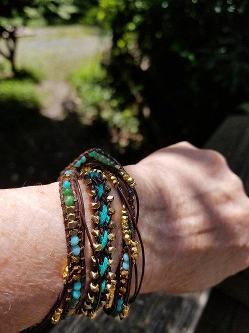 Turquoise,, Brass Beads Wrap Bracelet