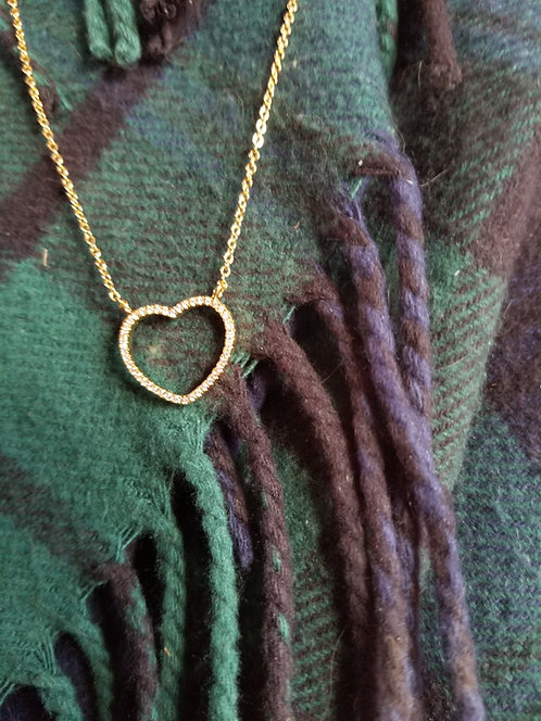 Gold Metal Heart Necklace With Chain