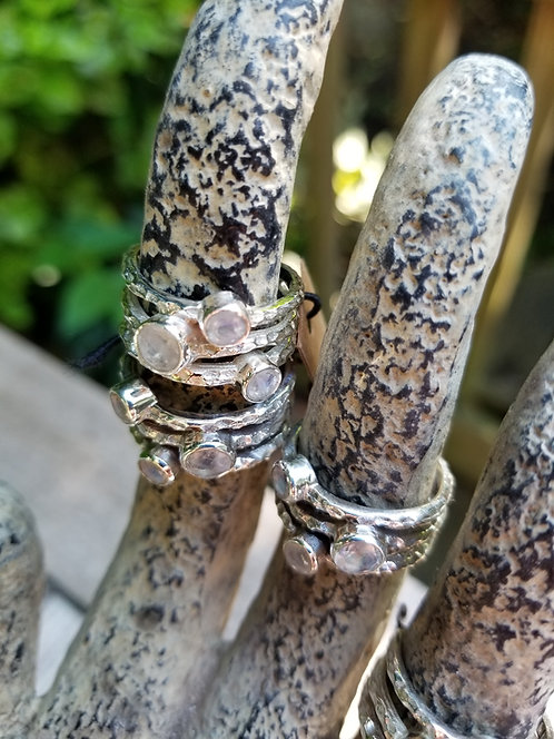 Triple Moonstone Silver Ring
