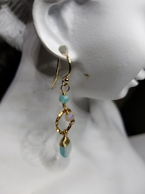Aquamarine and Gold Fill Earring