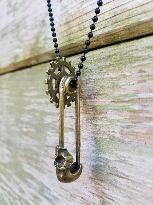 Brass Pin Pendant With Brass Gear Wheel
