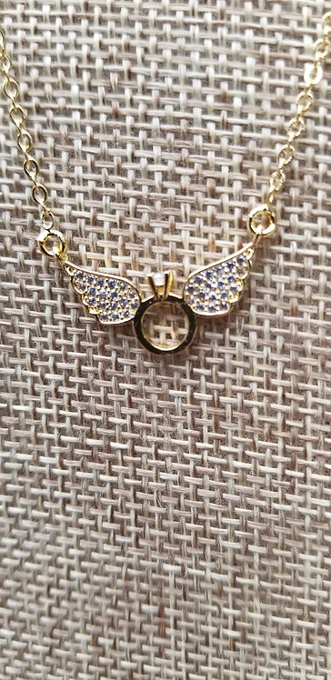 Golden Wings With Crystal Necklace