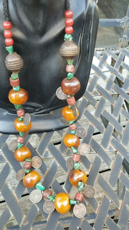 Vintage Amber Balls and Paisa Coins Necklace