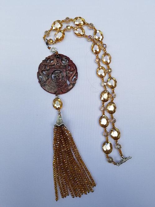 Pierced Chinese Jadeite Amber Medallion With Fringe