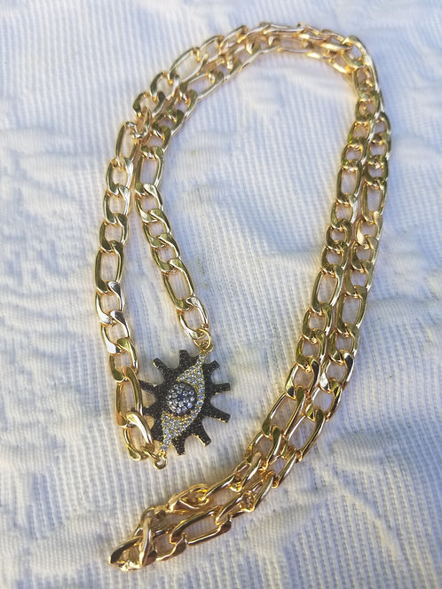 Gold Plated Link Evil Eye Necklace