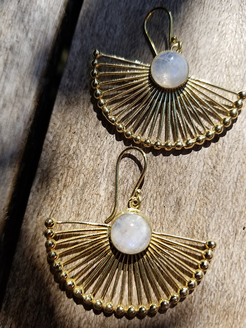 Brass Earring With Moonstone
