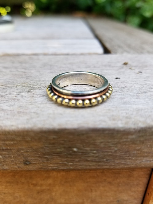 Silver and Brass Spin Ring