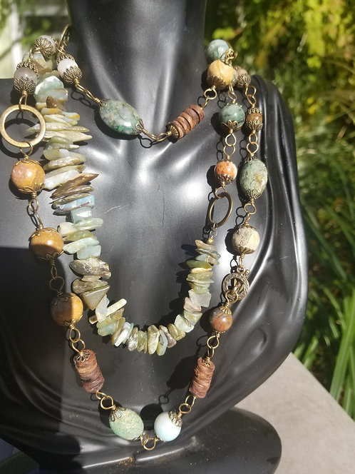Majaestic Wrap Beads and Chips Brass Necklace
