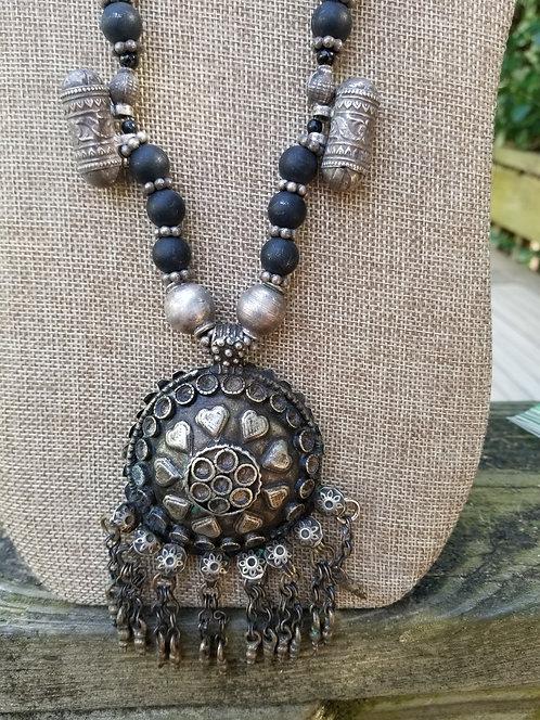 Old Afghan  Slver Metal Pendant Necklace