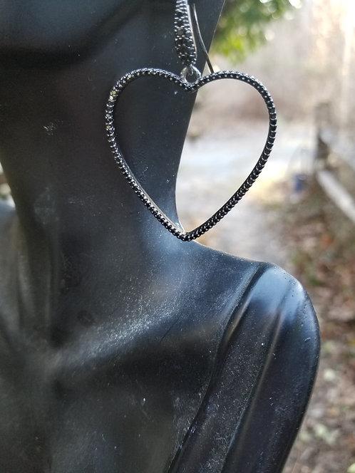 Hematite Pave Heart Earring