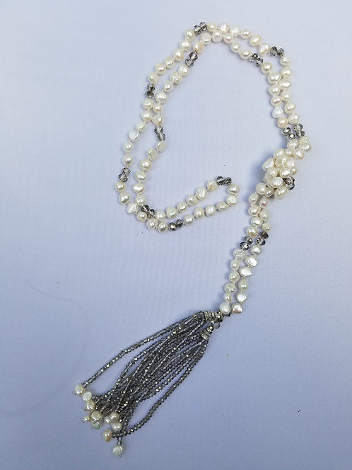 Freshwater Pearl Bolo Knotted Necklace With Taupe Crystal Fringe