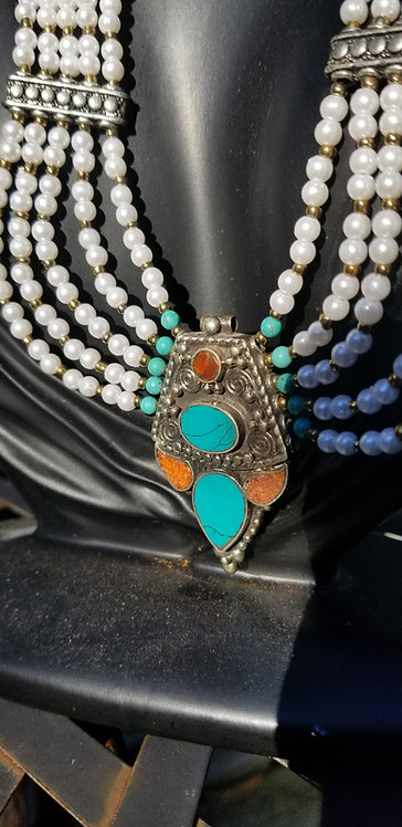 Pearl Turquoise And Coral Collar Necklace