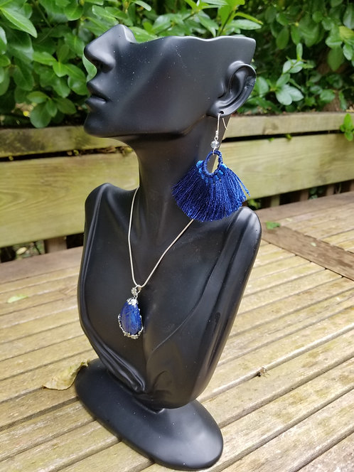 Lapis And Silver Pendant Necklace