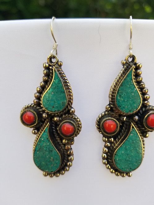Turquoise and Coral Drop Earring